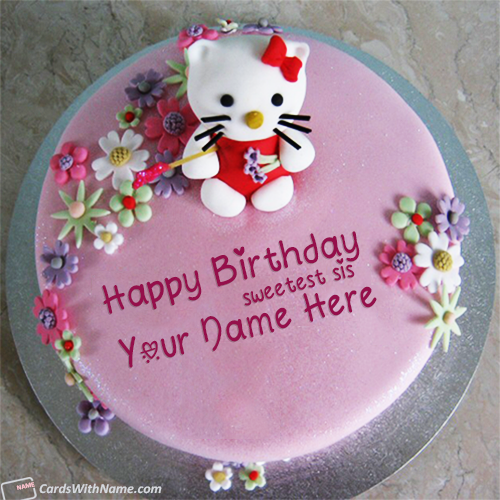 Cute Birthday Cake For Sister With Name Edit Cakes
