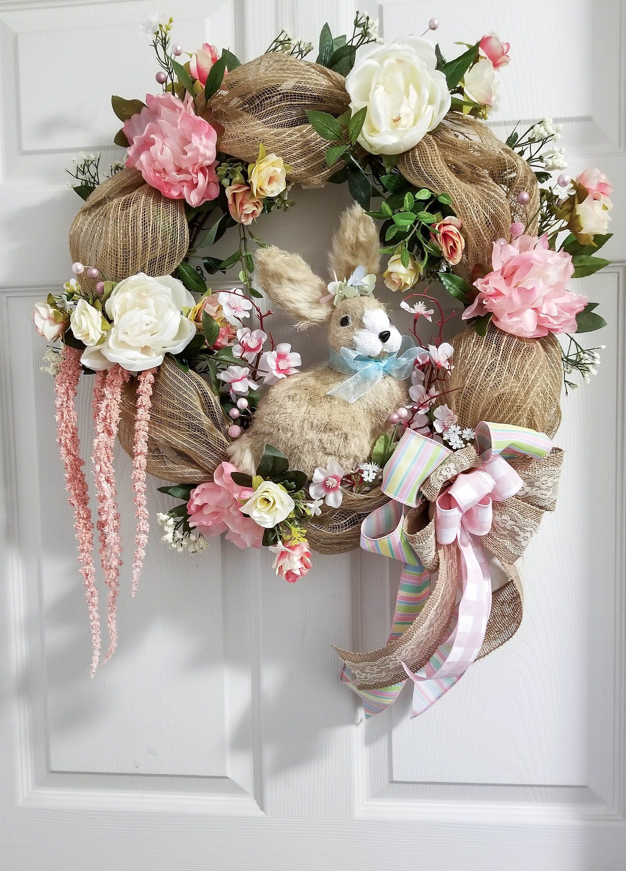 Happy Easter Sign Easter Bunny Wreath Twisted Oak Farm and Gift Shop Front Door Wreath Holiday Decoration Front Door Decor