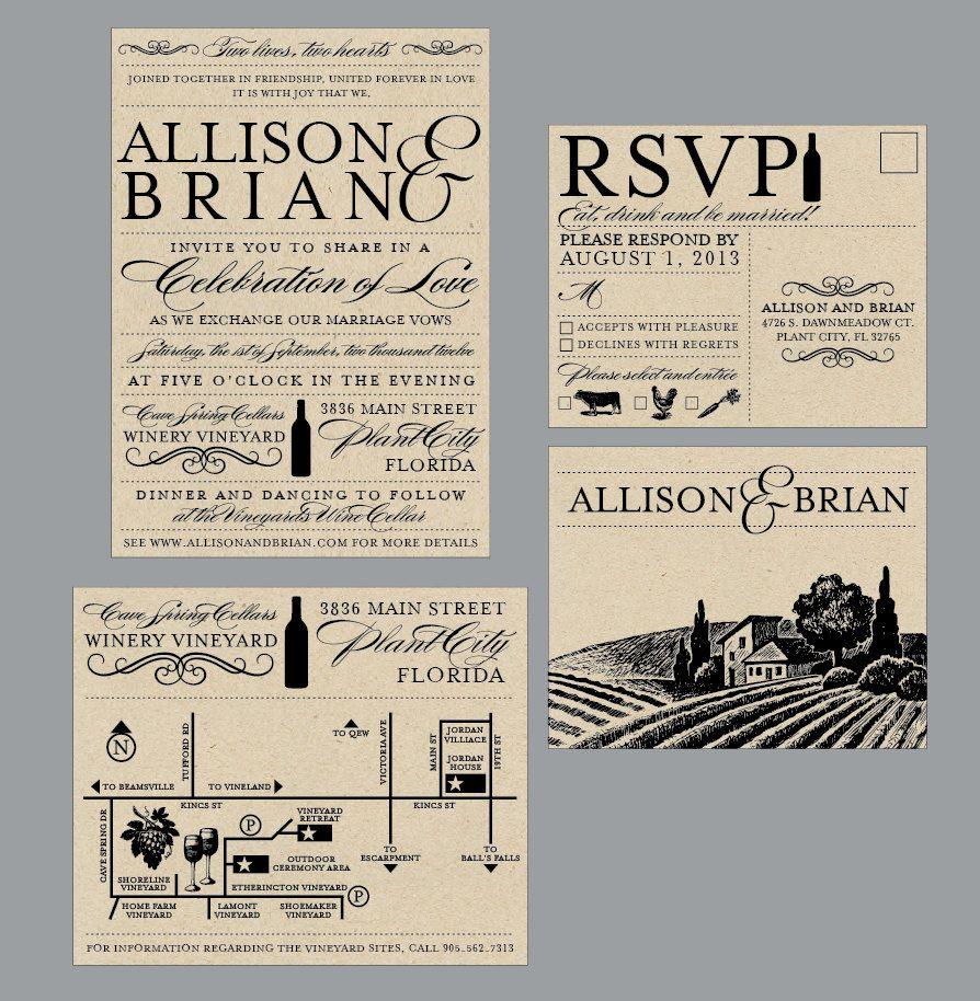 vineyard wedding invitations - vintage antique edwardian victorian, Wedding invitations