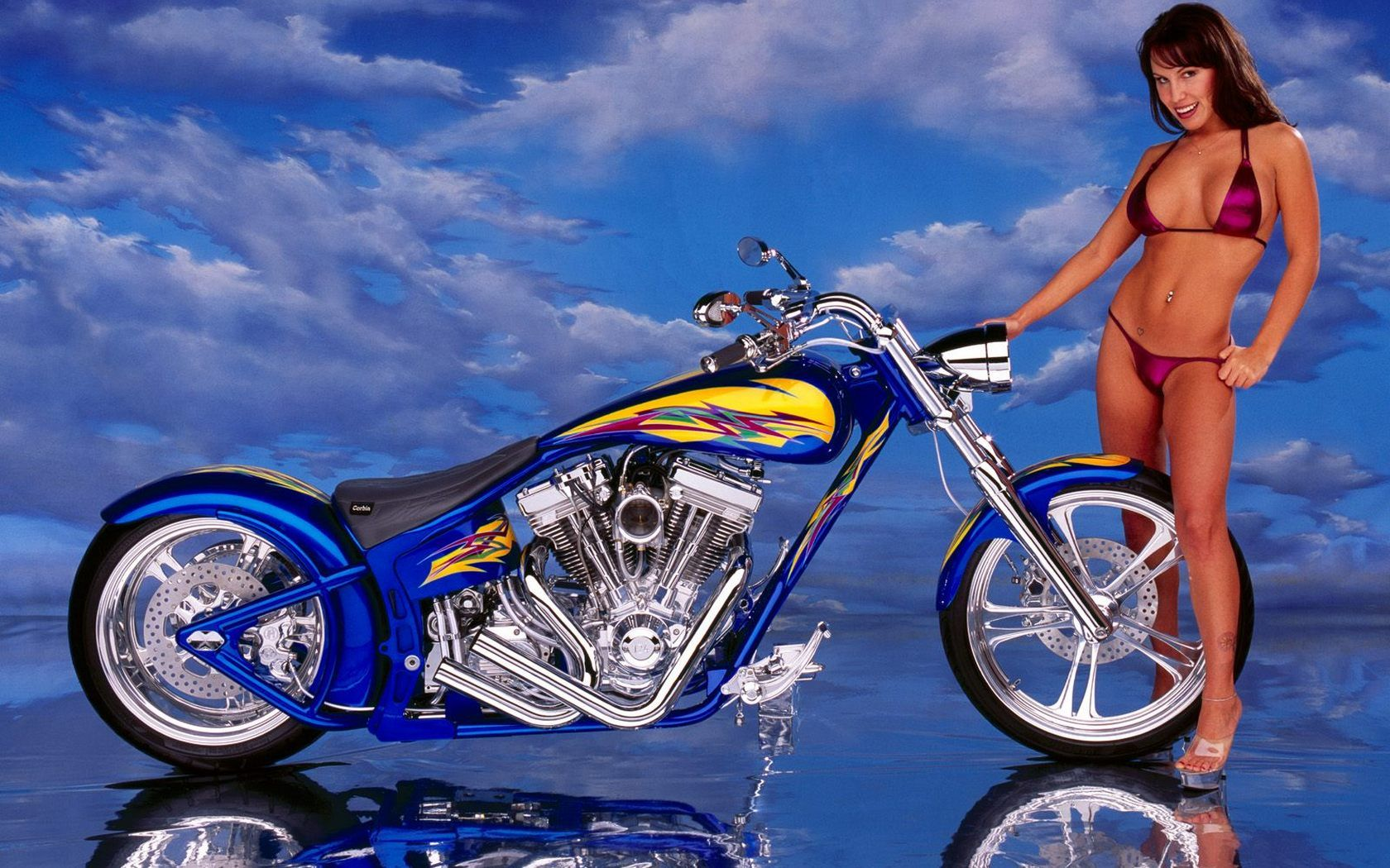Sexy Women Harley Davidson Background  Free Download Hq -9369