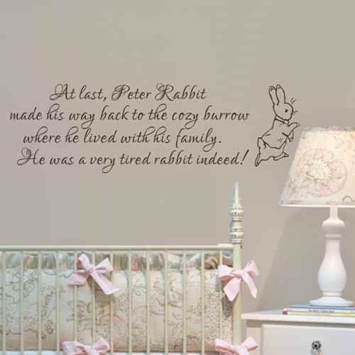 Baby Nursery Wall Decal Peter Rabbit Wall Sticker Vinyl Lettering ...