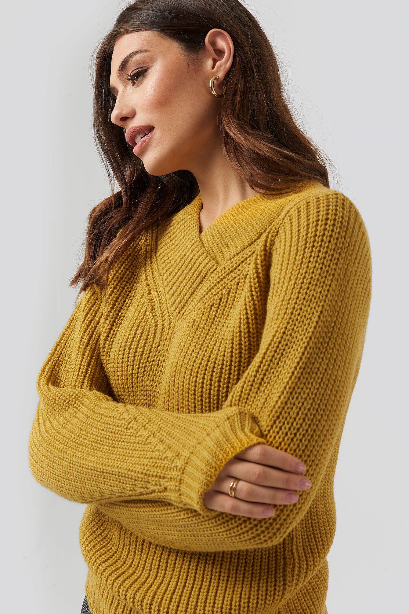 Wide Band V Neck Ribbed Sweater In 2020 Gelber Pullover Lange Armel Pullover
