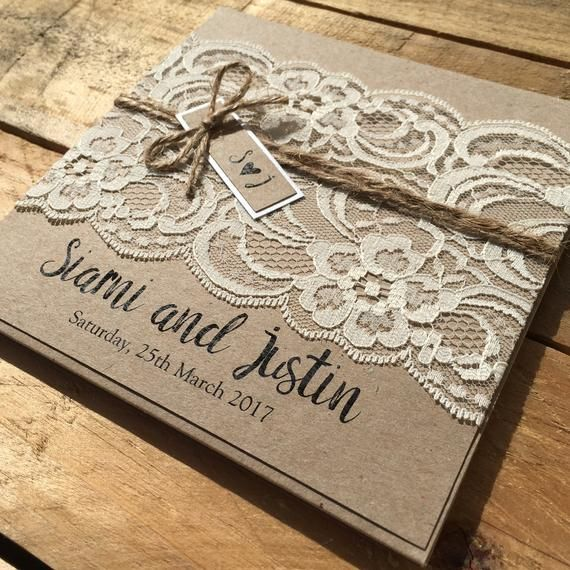 Rustic Vintage Lace Square Wedding Invitation SAMPLE