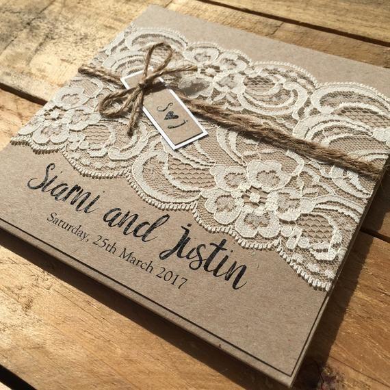 Rustic Vintage Lace Square Wedding Invitation SAMPLE