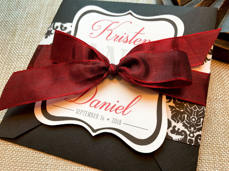 Damask Wedding Invitation, Monogram Wedding Invitation, Square Belly ...