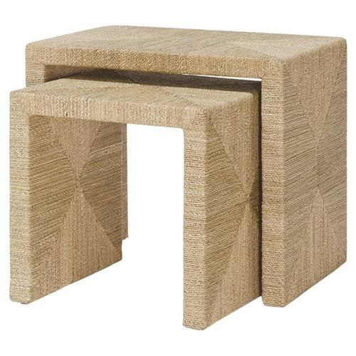 Palecek Woodside Natural Seagrass Rope Nesting Tables Pair Nesting Tables Furniture Bliss Home And Design