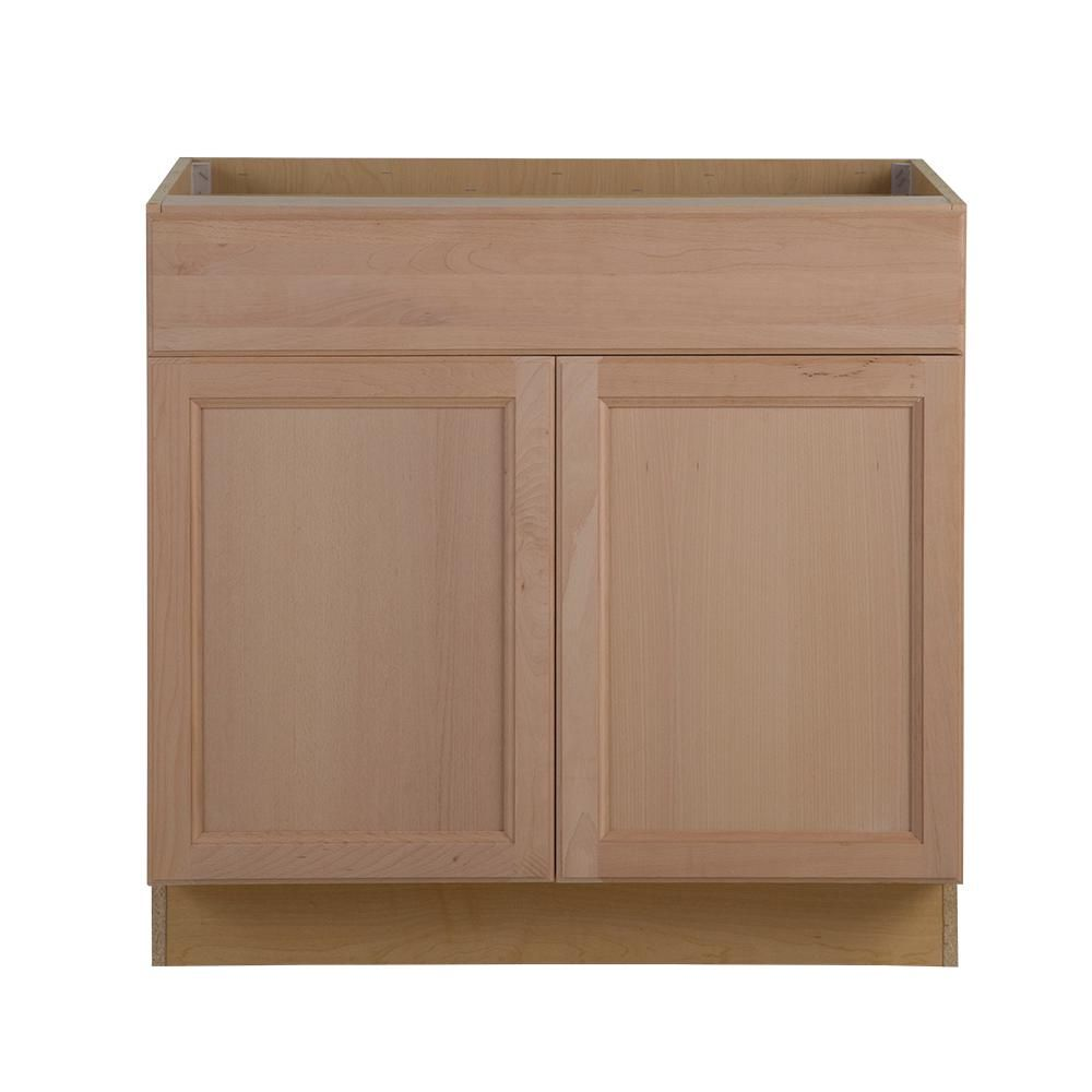Hampton Bay Easthaven Shaker Assembled 36x34 5x24 In Frameless Base Cabinet With Drawer In Unfinished Beech Eh3635b Gb The Home Depot Base Cabinets Unfinished Kitchen Cabinets Cabinet Drawers
