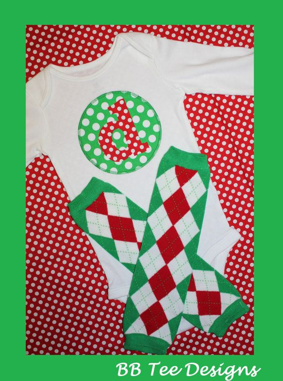 Baby Boys Girls Christmas Initial Onesie and Argyle Leg Warmers on Etsy, $24.00