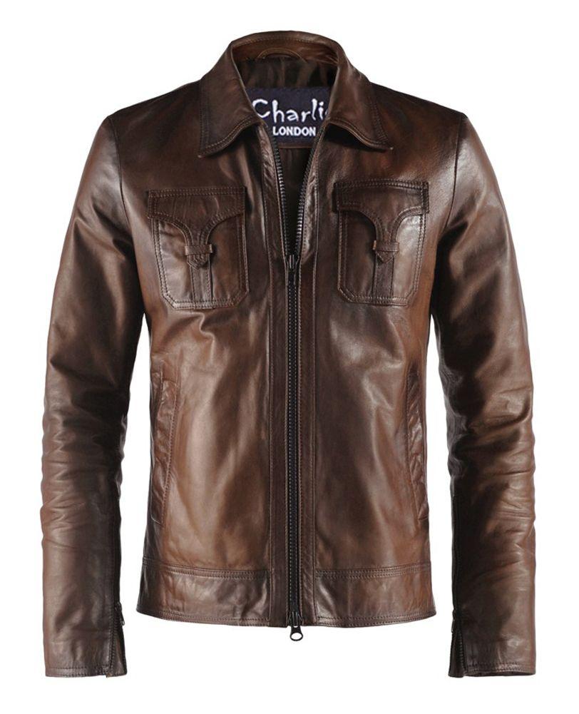 6d127af382c8 Mens Drifter Vintage Brown Leather Jackets - Charlie LONDON | obleka ...