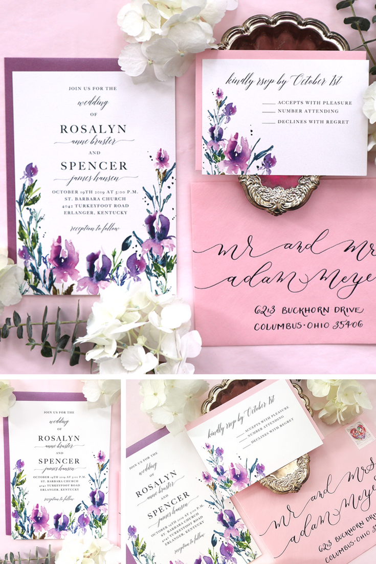 Purple Wedding Invitation Printable Wedding Invitation Etsy Purple Wedding Invitations Printable Wedding Invitations Wedding Invitations