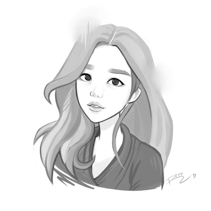 Korean Girl Sketch By Revvriverse Girl Drawing Sketches Girl Sketch Girl Drawing