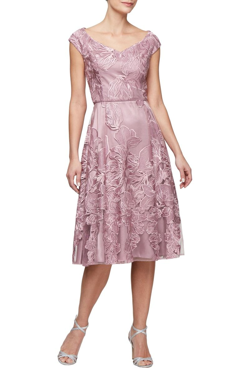 a2d250e1776a Free shipping and returns on Alex Evenings Embroidered Fit   Flare Dress at  Nordstrom.com. A tea-length organza dress enchants for any day or night  occasion ...