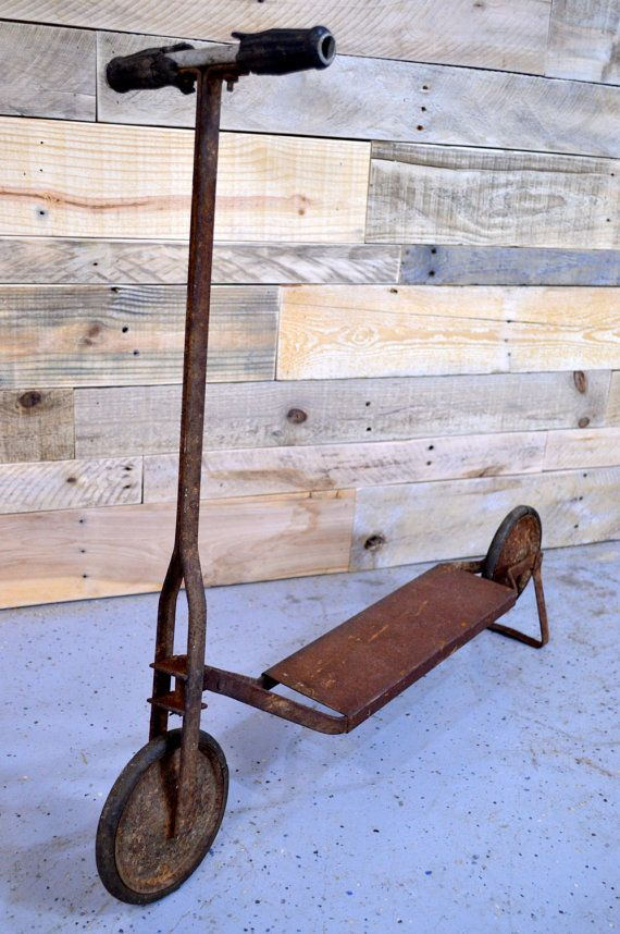 Vintage Push Scooter 1920s Rustic Toy