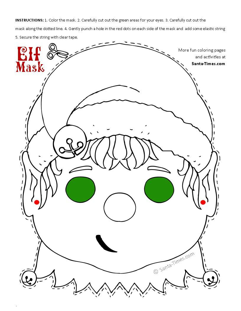 christmas elf mask printable coloring page more fun activities
