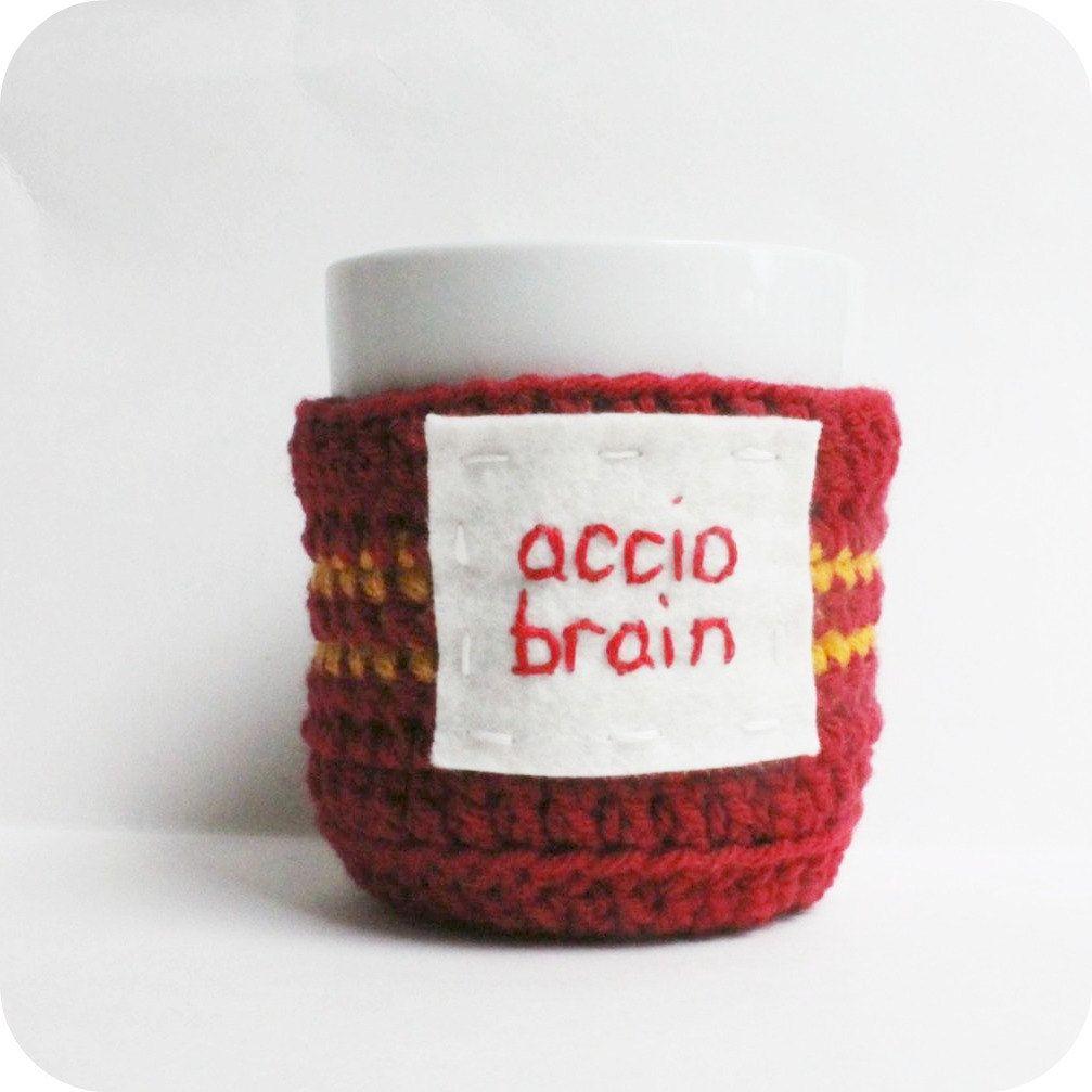 Coffee cozy, Tea Cup Cozy, accio Brain, red yellow, crochet ...