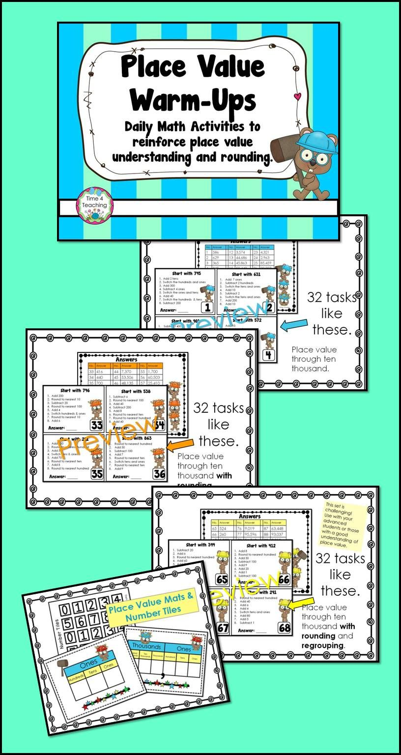 Place Value Warm-Ups: Daily Math Activities | Upper Grade Goodies ...