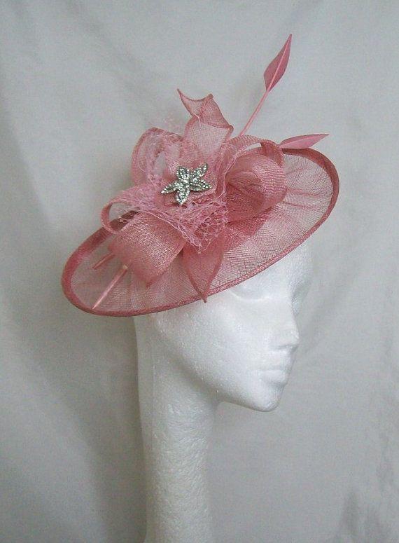 Dusky Rose Pink Sinamay Saucer   Loop Arrow by IndigoDaisyWeddings ... da1cc5da96e