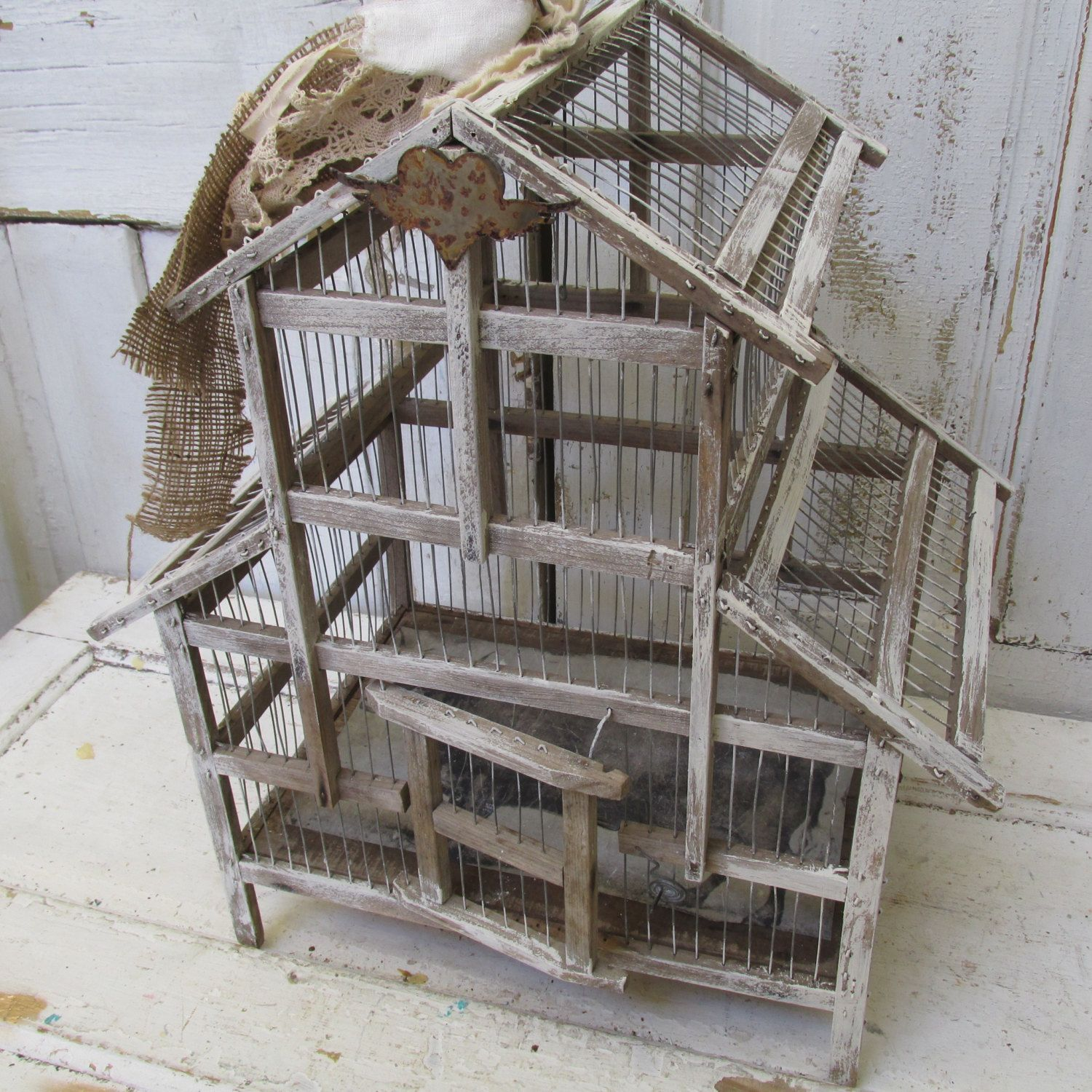 Farmhouse Wooden Birdcage Rustic Vintage Rusty Painted Wood And Wire