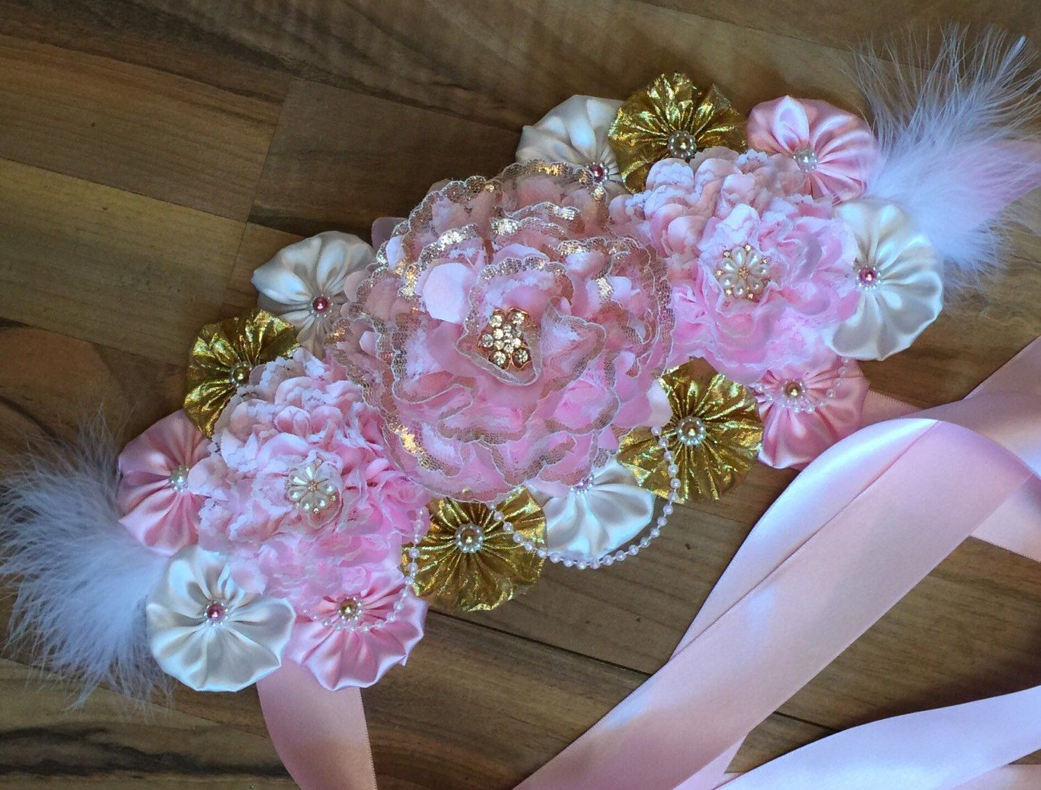 17 best ideas about maternity belly sash maternity pink gold and ivory maternity sash belly band belt sash it s a girl sash shabby chic maternity sash pink pregnancy sash photo ptop
