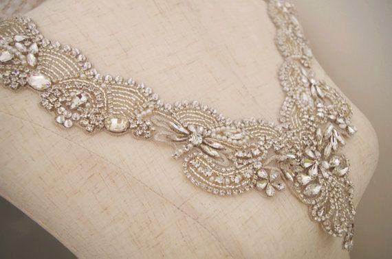 rhinestone bridal collar applique, wedding dress V neckline collar applique, crystal collar for bridal gown new arrival #dollunderware
