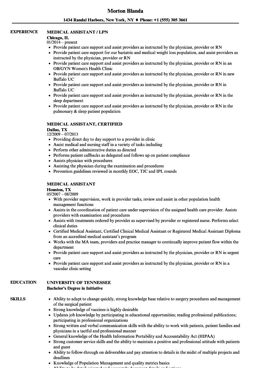 Writing Medical Resistant Resume With Samples Medical Assistant Resume Medical Resume Medical Assistant