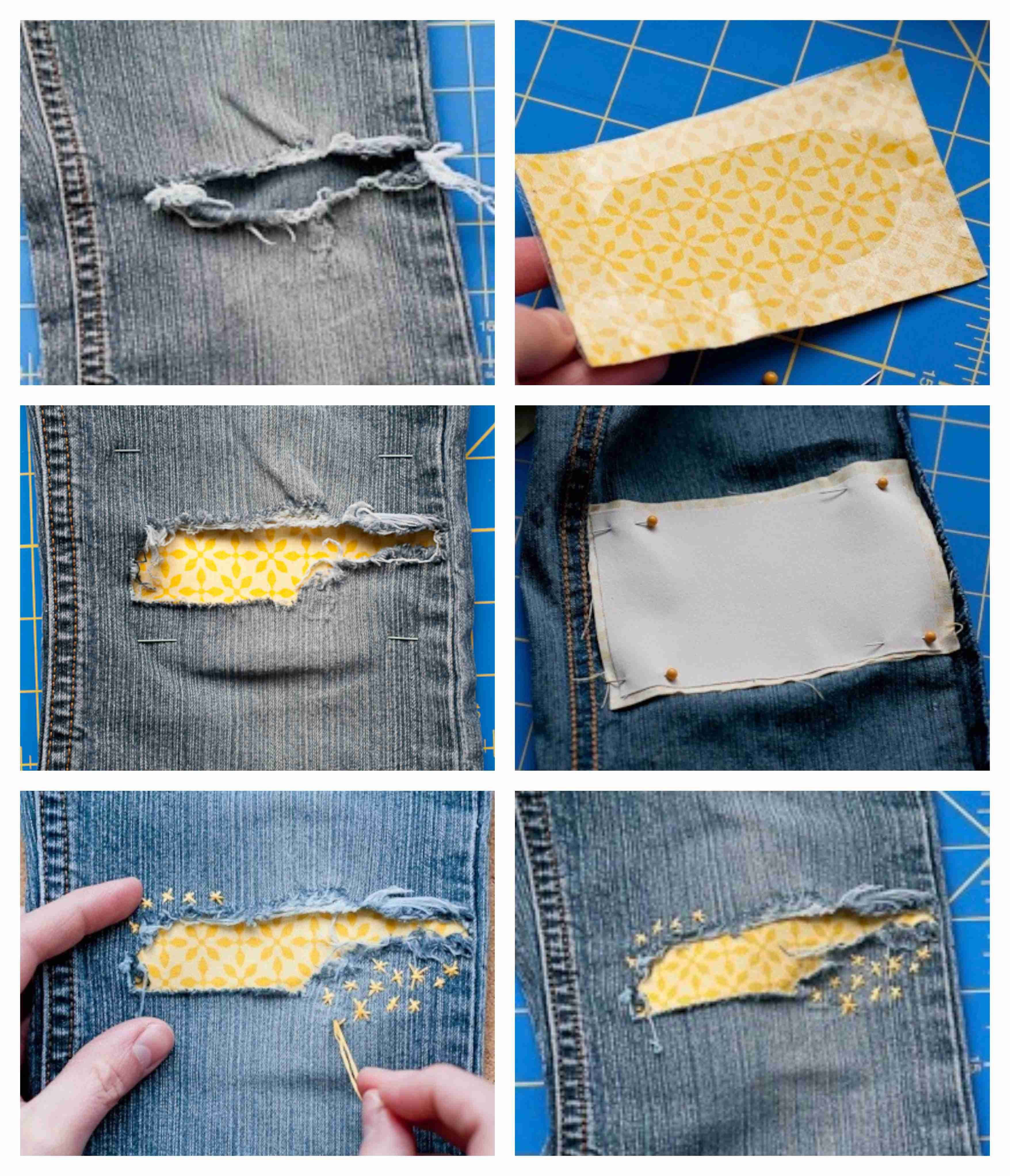 Under Patch:  1.Cut Heat n' Bond to the same size as your fabric patch - leave a hole in the center to align w/ the jeans hole.  2.Pin it directly behind the hole in the knee & iron as directed.  **3.For increased strength use Heat n' Bond to attach sturdy twill to the back of the fabric.  4. With embroidery floss sew some stars — they'll help keep the patch firmly in place.    (designmom.com) #embroideryfloss