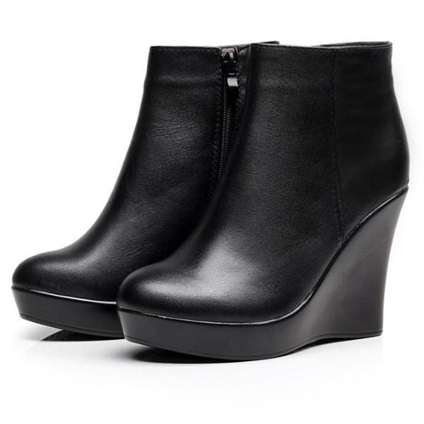 Genuine Leather Wedge Heels Boots