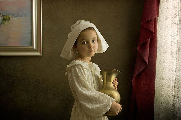 Father Photographs His 5 Year Old Daughter In The Clothing And Settings Of Renaissance Dutch Flemish And Ital Classic Paintings Fine Art Portraits Famous Art