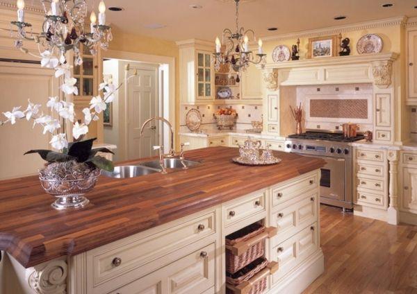 Holzbodenbelag-Laminat-Landhausstill-Küche landhausküche - franzosischen stil interieur ideen