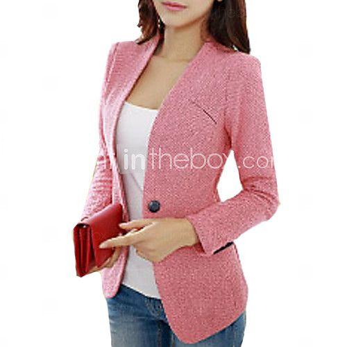 Mujer Y Para Todas Las Temporadas Blazer Un Color Manga Larga Alón Licra Azul Rosa Blanco Medio