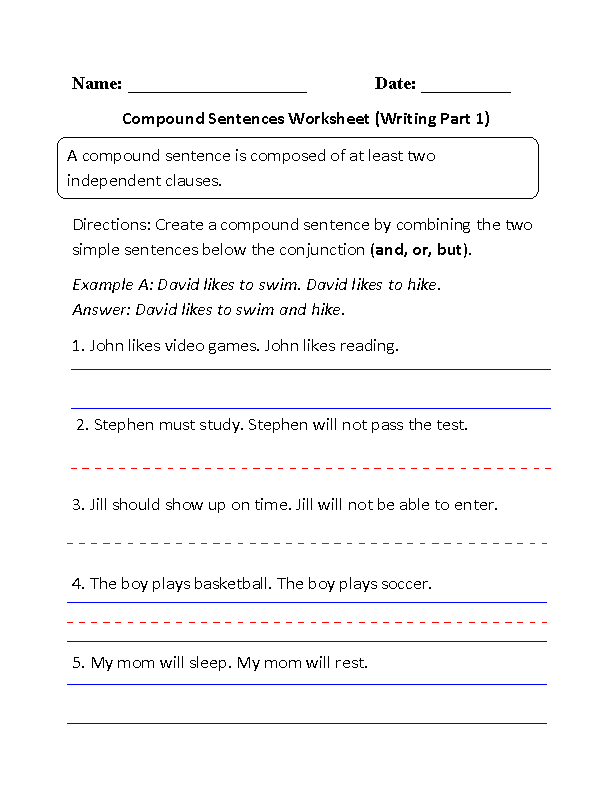 Writing Compound Sentences Worksheet Part 1 Beginner--FREE ...