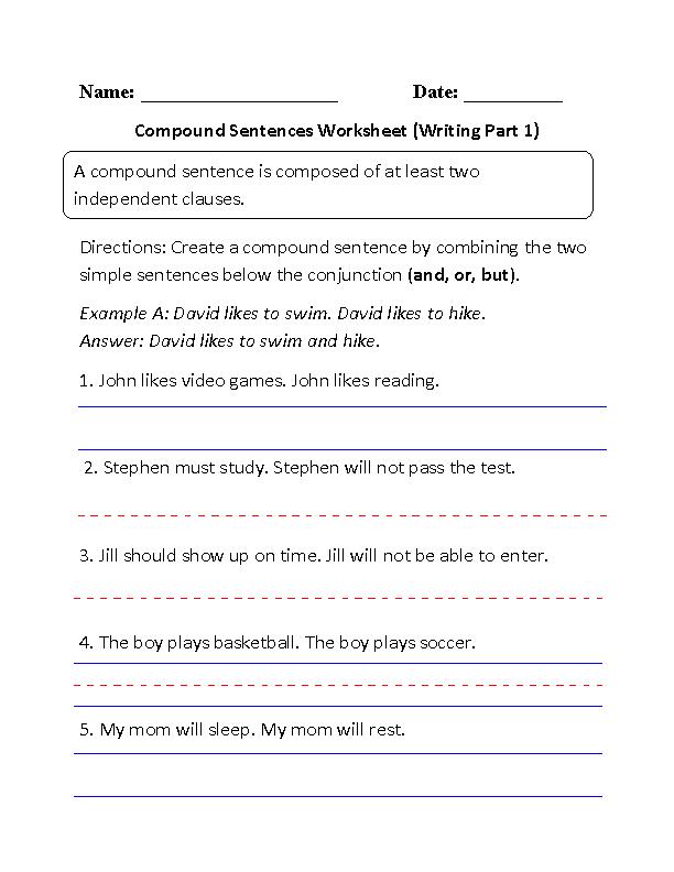 Writing Compound Sentences Worksheet Part 1 Beginner Free
