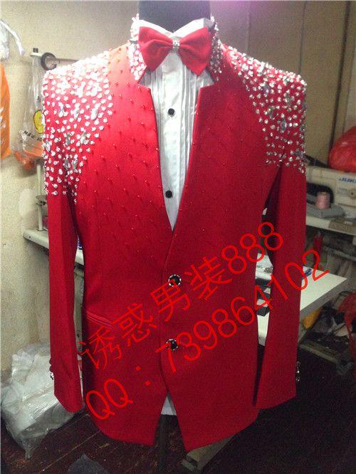 ... Red Slim Formal Dress Male singer dancer rhinestone Performance jacket  Nihgtclub party show the host stage wear. My Suit. Darron Moore. ac686ec15902