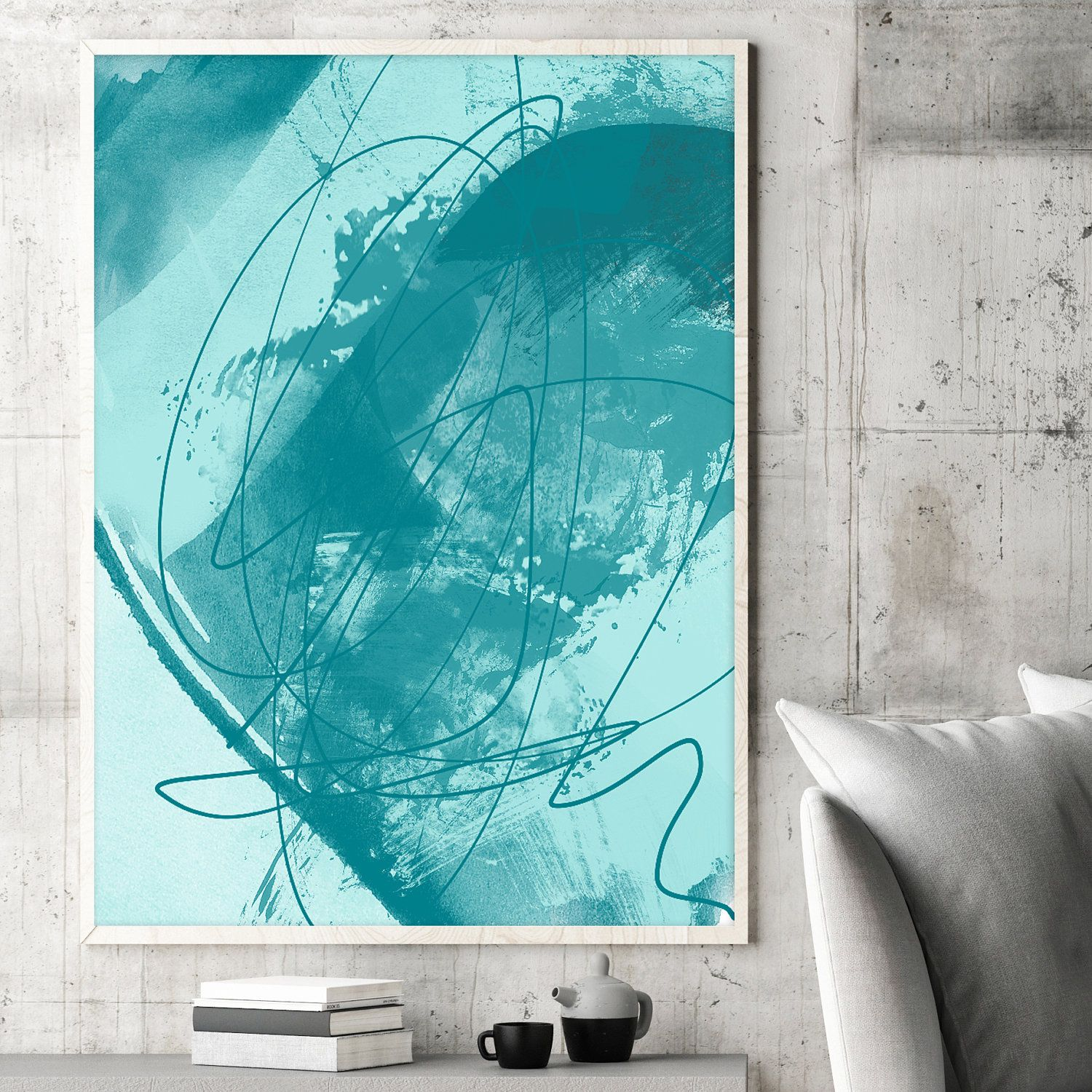 Teal blue painting abstract mixed media painting turquoise and