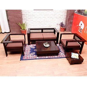 Induscraft Modern Sofa Set Wooden Stylish Indian Combo 3 2 1 Wooden Sofa Designs Living Room Sofa Design Sofa Set