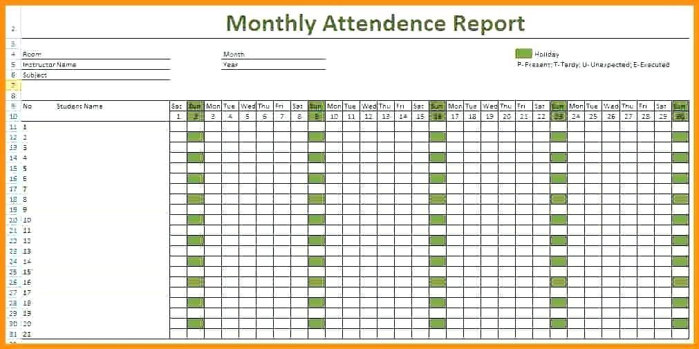 Free Printable Attendance Sheet Template For Teachers Employees