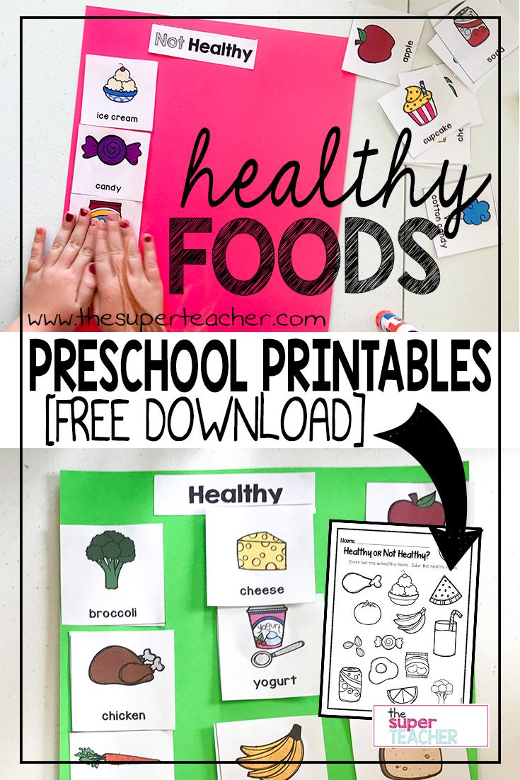 Healthy Foods Worksheet [FREE DOWNLOAD Preschool