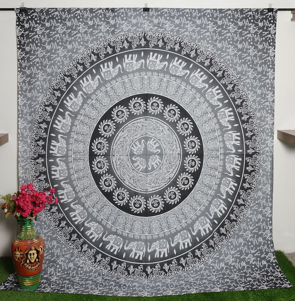 Mandala Tapestry Ombre Pattern Print Wall Hanging Decor