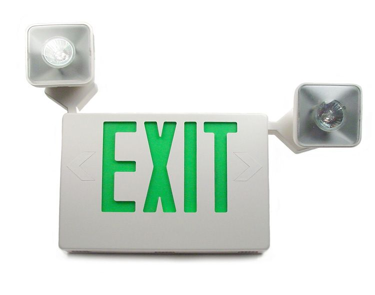 Monument Combination Led Exit Sign And Incandescent Emergency