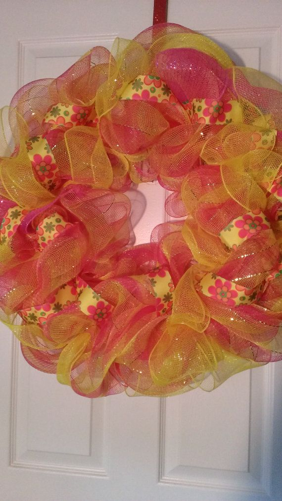 Spring in Full Bloom Inspired Deco Mesh Wreath by MisSuenos, $35.00