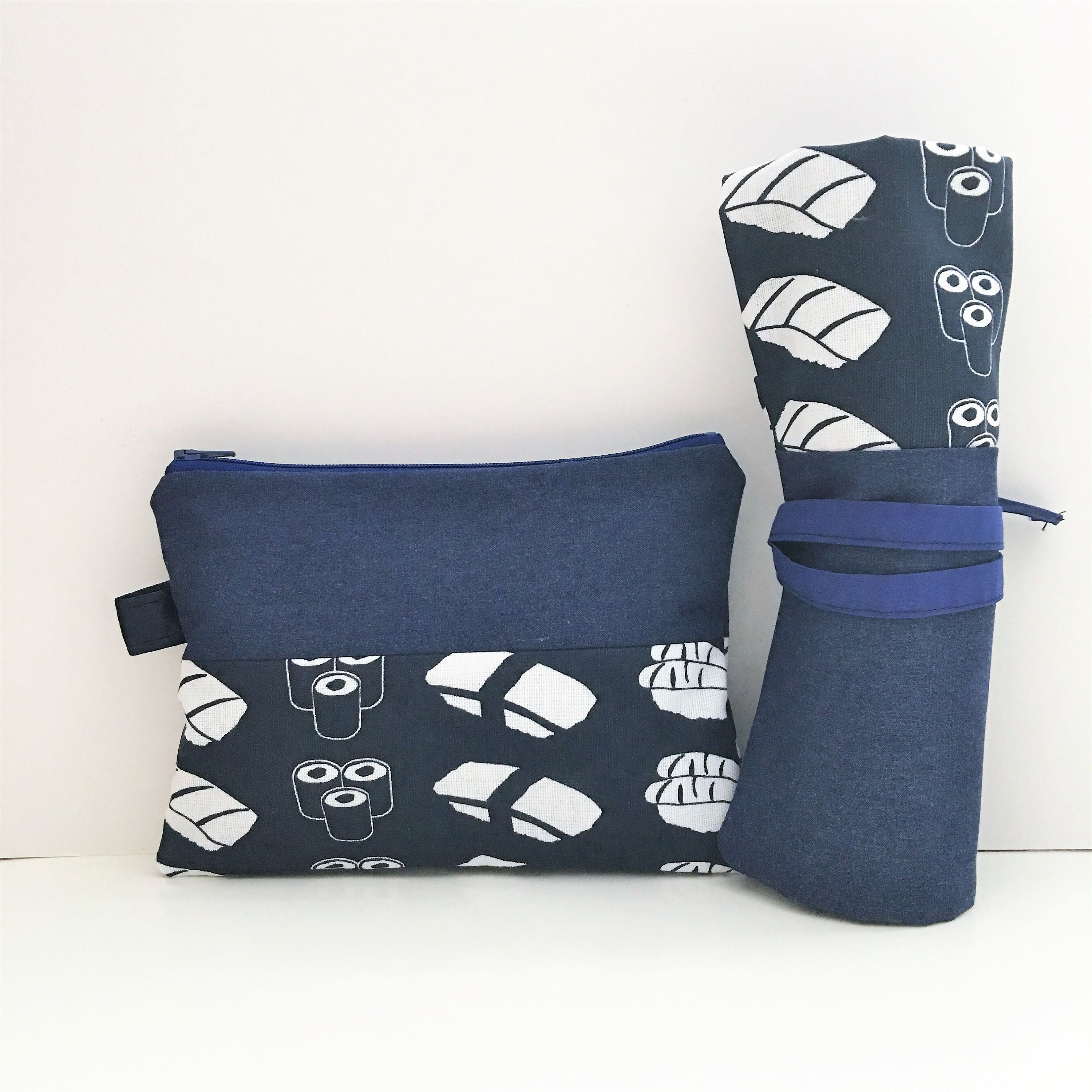 6 slots Japanese Sushi Print Makeup Brush Roll and Pouch Travel Set