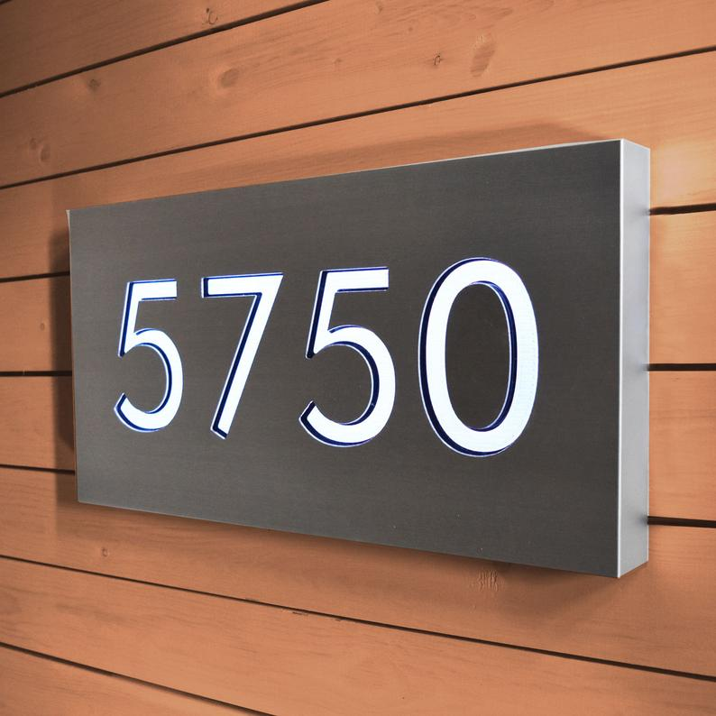 Lighted Address Sign Address Plaque Large Modern Personalized