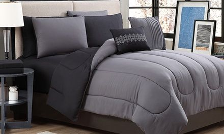 Bed-in-a-bag sets' reversible solid-color comforters and coordinating sheet sets in sleek, modern prints blend in with contemporary decor