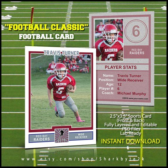 2017 football sports trader card template for photoshop football