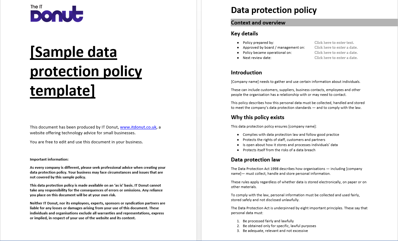 Sample Data Protection Policy Template Data Protection