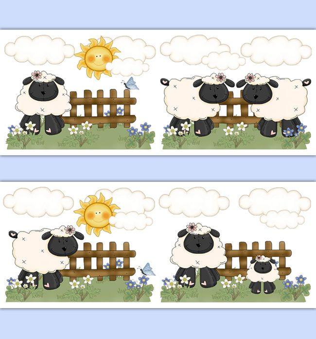 Barnyard Farm Animal Sheep Nursery Wallpaper Border Decal Wall Art - Barnyard nursery wall decals