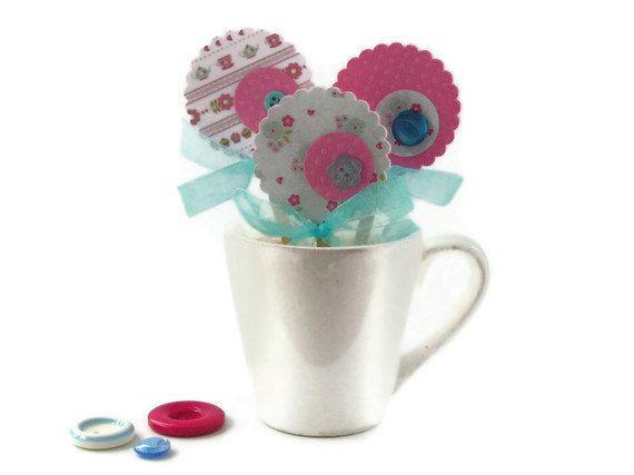 Girls Birthday Cupcake Picks Pink Blue Tea Party by Boetica