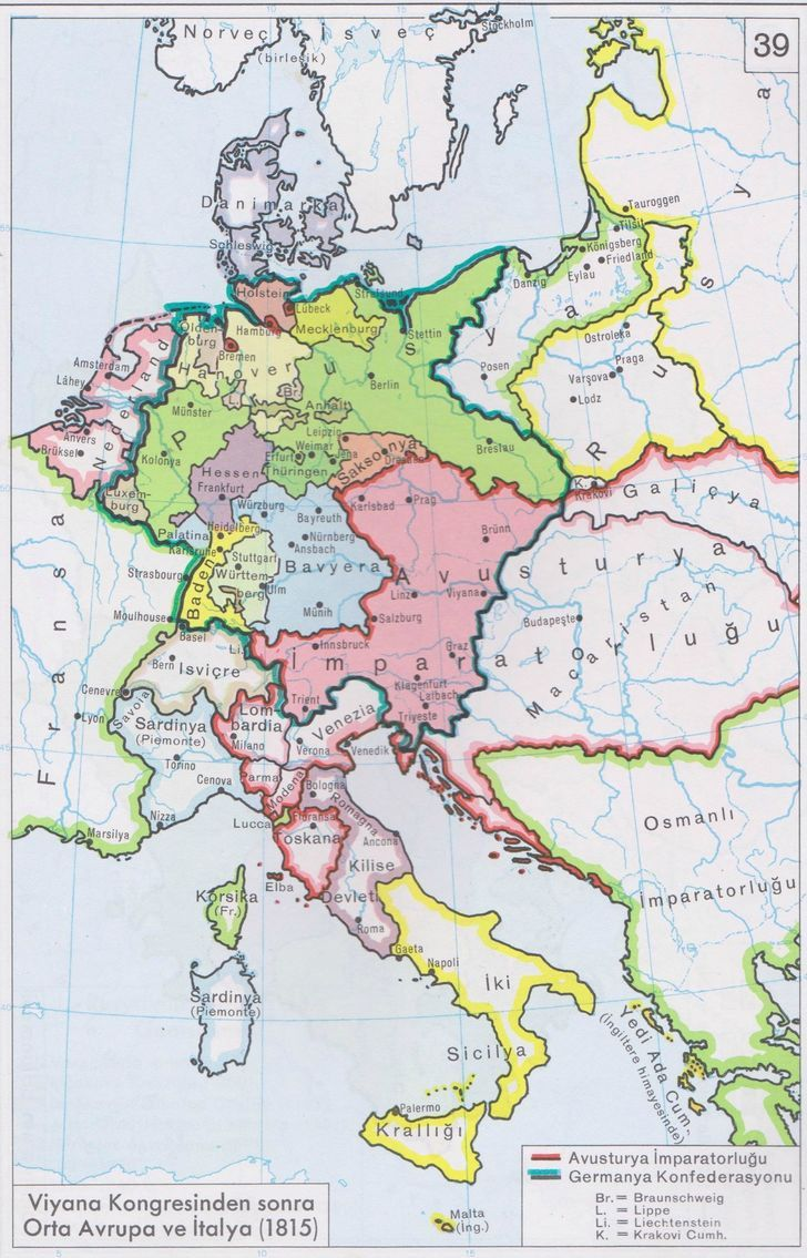 Map Of Central Europe And Italy After The Congress Of Vienna 1915