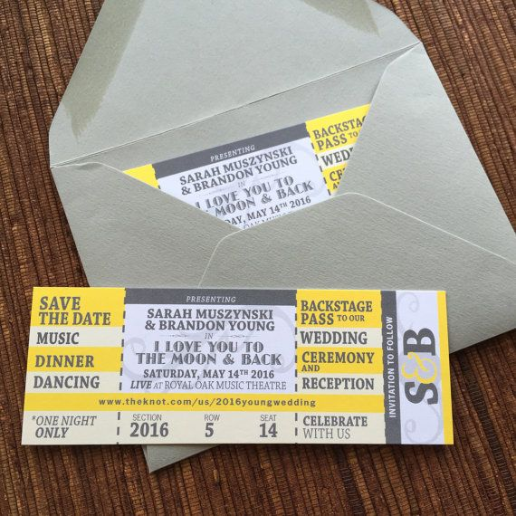 Concert Ticket Save the Date \/ DIY Printable by papercakedesigns - invitations that look like concert tickets