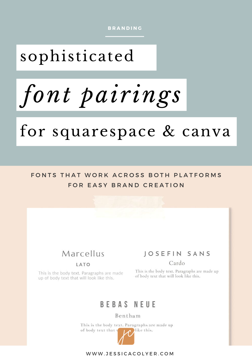 Sophisticated Font Pairings For Squarespace And Canva Here Are Three Favorite Font Combos Available On Both Squaresp Font Pairing Web Design Font Font Combos
